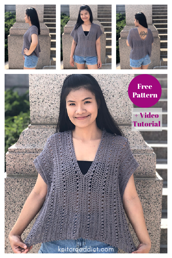 Easy V neck Summer Blouse Top Free Crochet Pattern and Video Tutorial