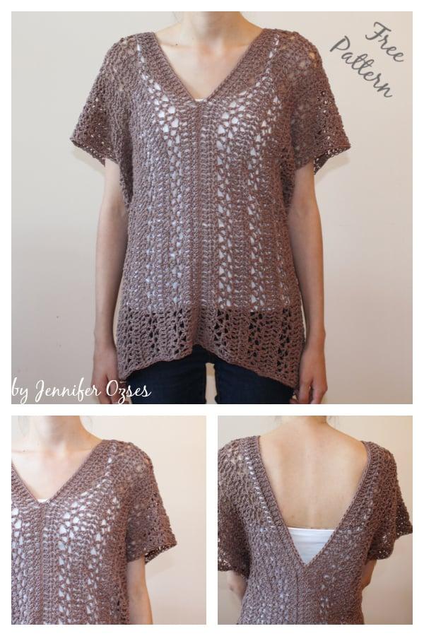 Easy Vanier V-Neck Tunic Free Crochet Pattern