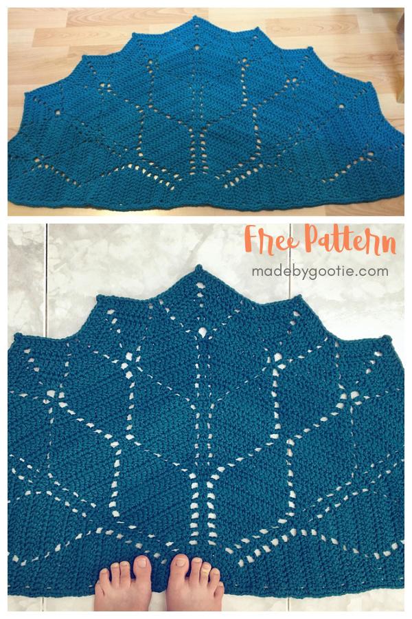 Half Circle Paved Diamonds Rug Free Crochet Pattern