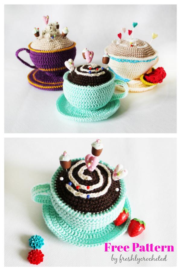 Mint Cup Pincushion Free Crochet Pattern
