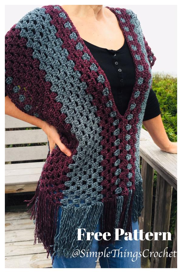Misty Morning Poncho Top Free Crochet Pattern