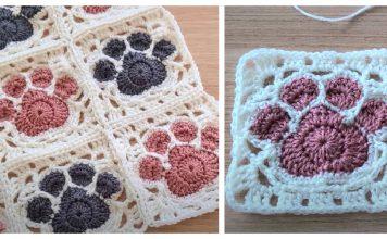 Paw Print Square Motif Free Crochet Pattern