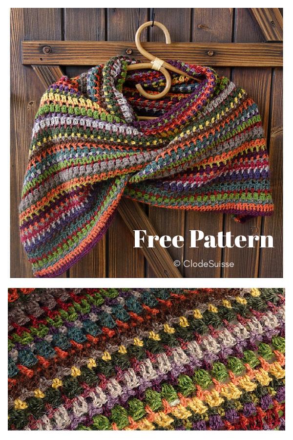 Sampler Rectangular Shawl Free Crochet Pattern