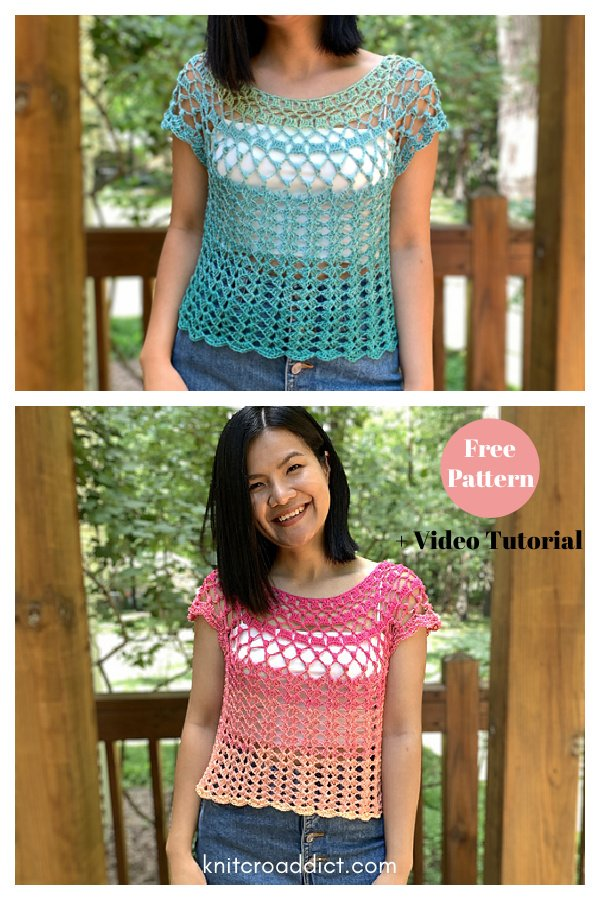 Summer Lace Top Free Crochet Pattern and Video Tutorial