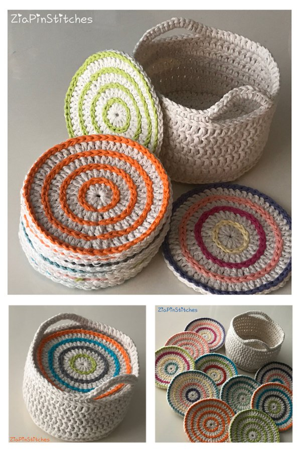 ZiaPin Roller Coasters and Holder Set Free Crochet Pattern