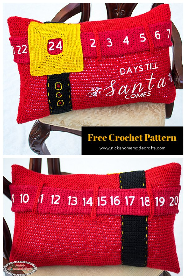 Advent Calendar Pillow Free Crochet Pattern