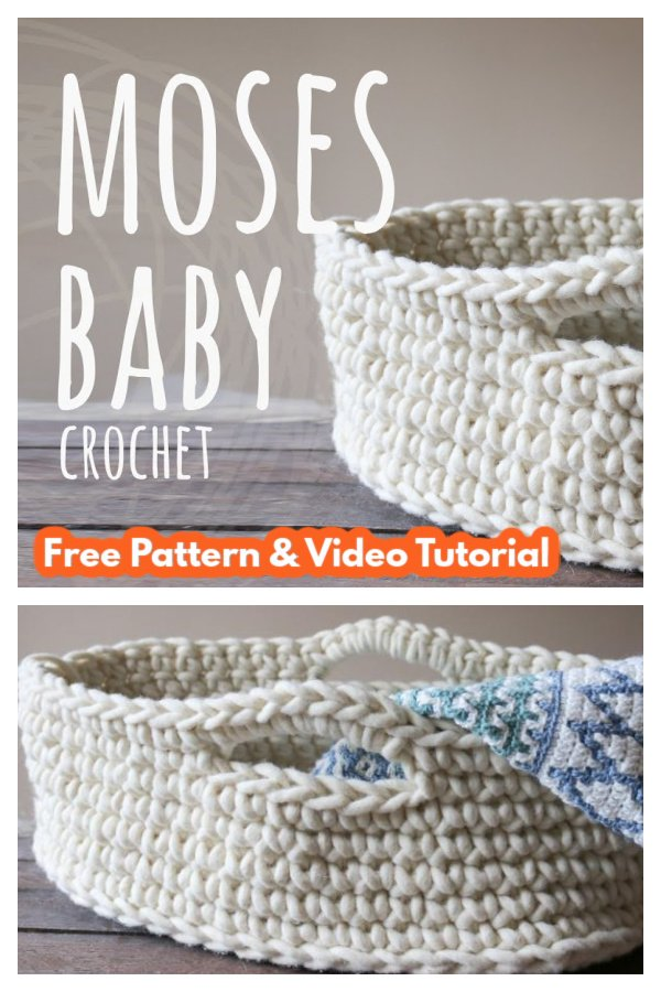Baby Moses Basket Free Crochet Pattern and Video Tutorial