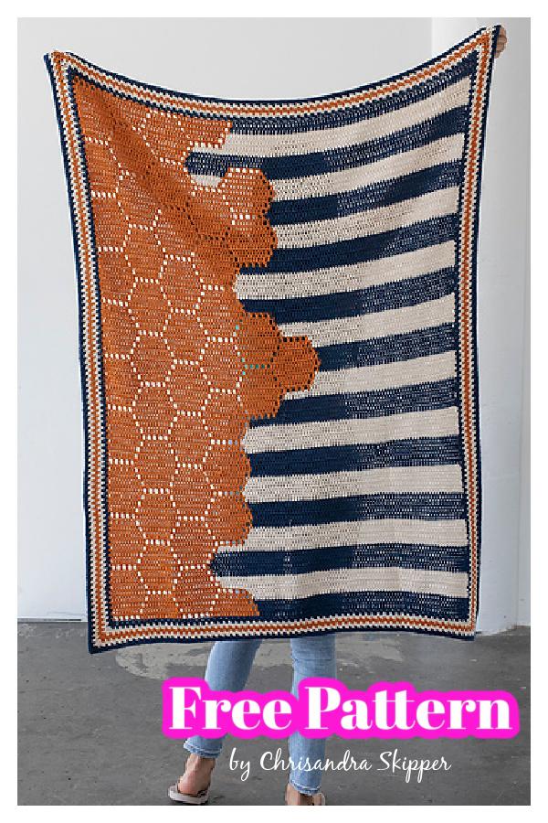 Boardwalk Hexie Blanket Free Crochet Pattern