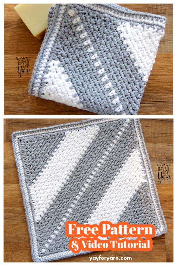 C2C Moss Stitch Washcloth Free Crochet Pattern and Video Tutorial