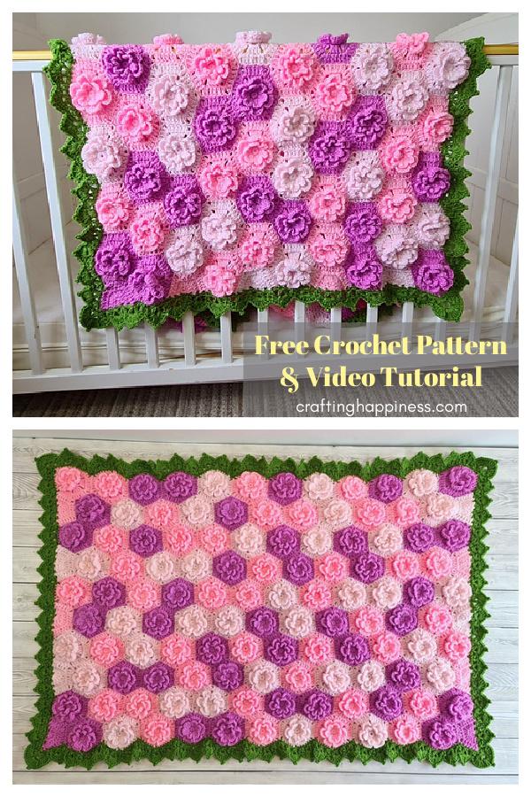 Flower Baby Blanket Free Crochet Pattern and Video Tutorial