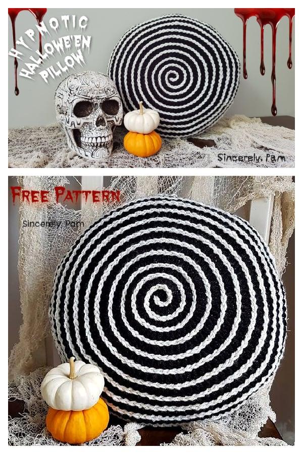 Halloween Hypnotic Pillow Free Crochet Pattern