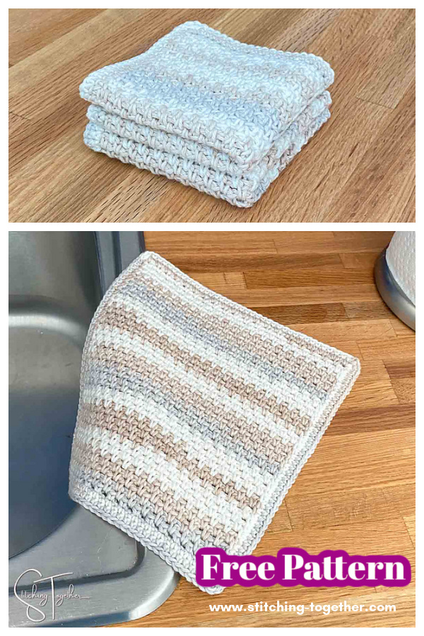 Mansfield Moss Stitch Dishcloth Free Crochet Pattern