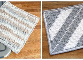 Moss Stitch Dishcloth Free Crochet Pattern
