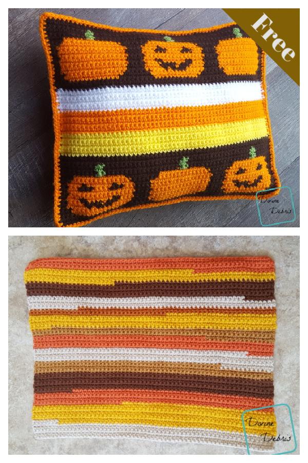 Smiling Pumpkins Pillow Free Crochet Pattern