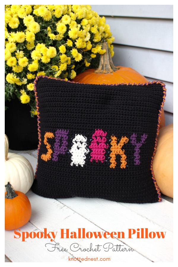 Spooky Halloween Pillow Free Crochet Pattern