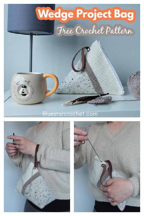 Wedge Project Bag Free Crochet Pattern