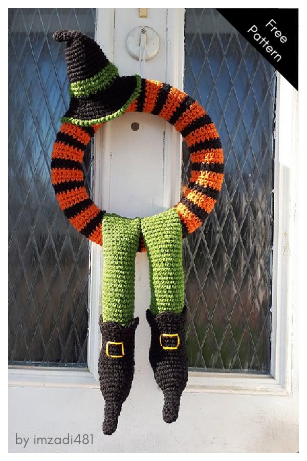 Winne the witch Halloween Wreath Free Crochet Pattern
