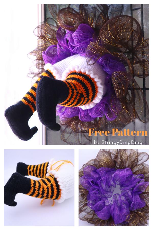 Witch Halloween Wreath Free Crochet Pattern