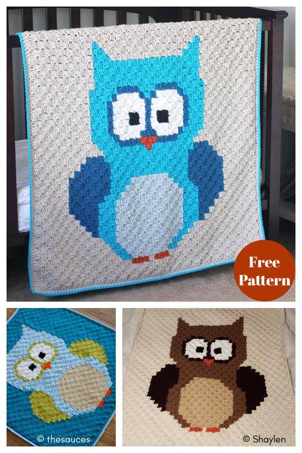 Baby Owl C2C Blanket Free Crochet Pattern
