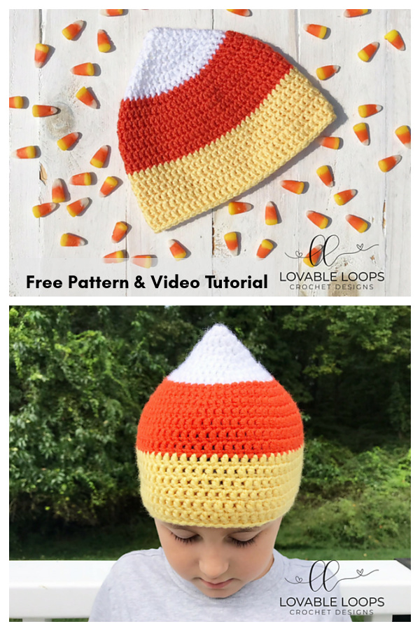 Candy Corn Hat Free Crochet Pattern and Video Tutorial