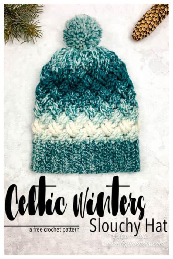 Celtic Winters Slouchy Hat Free Crochet Pattern
