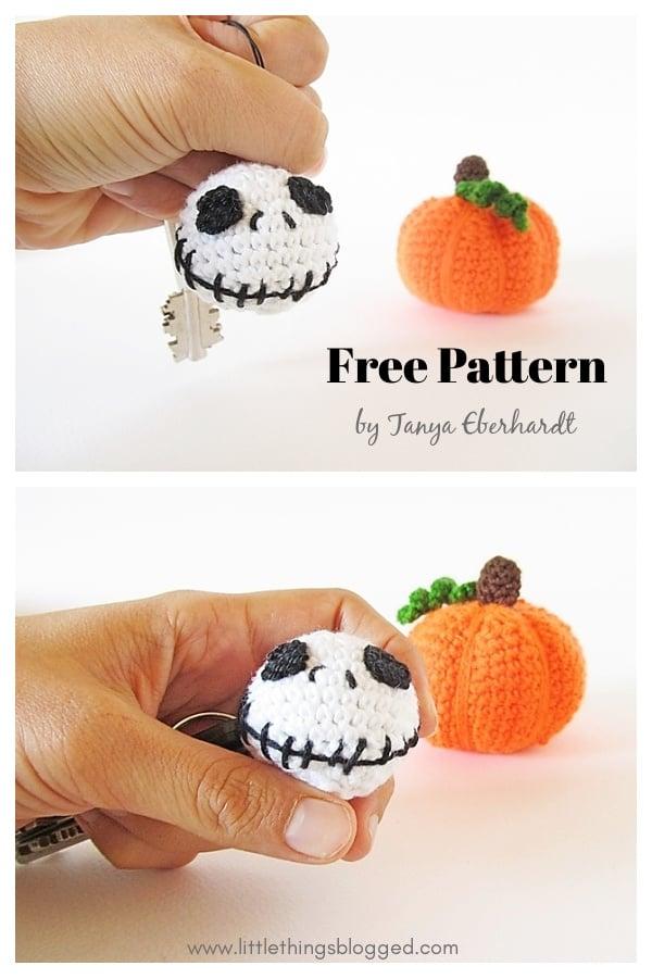 Halloween Jack Skellington Keychain Free Crochet Pattern