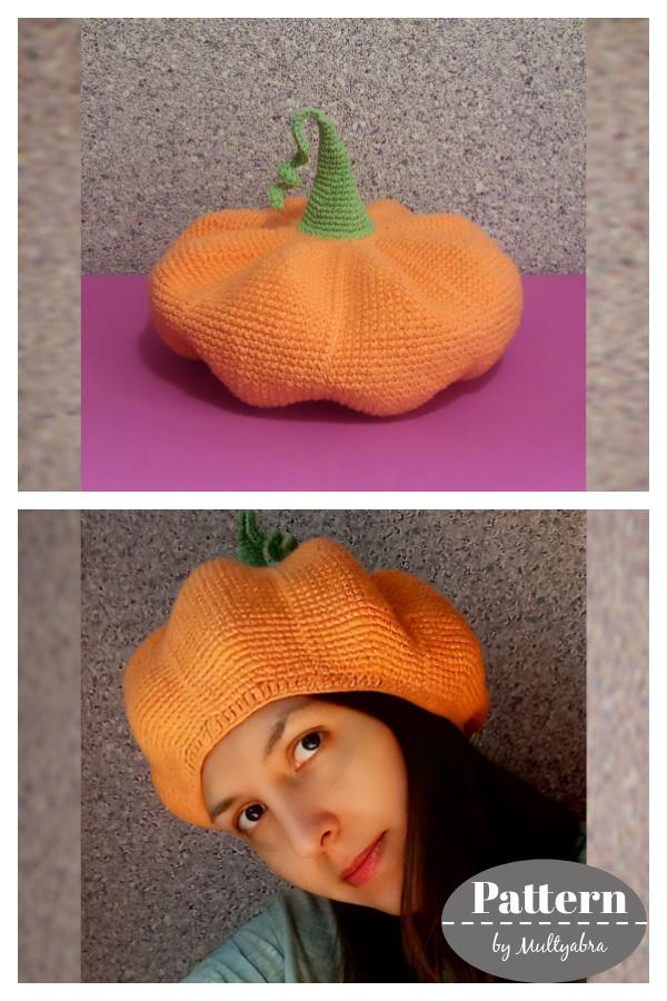 Halloween Pumpkin Beret Hat Crochet Pattern