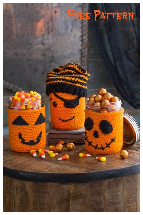 Halloween Pumpkin Jar Cozies Free Crochet Pattern