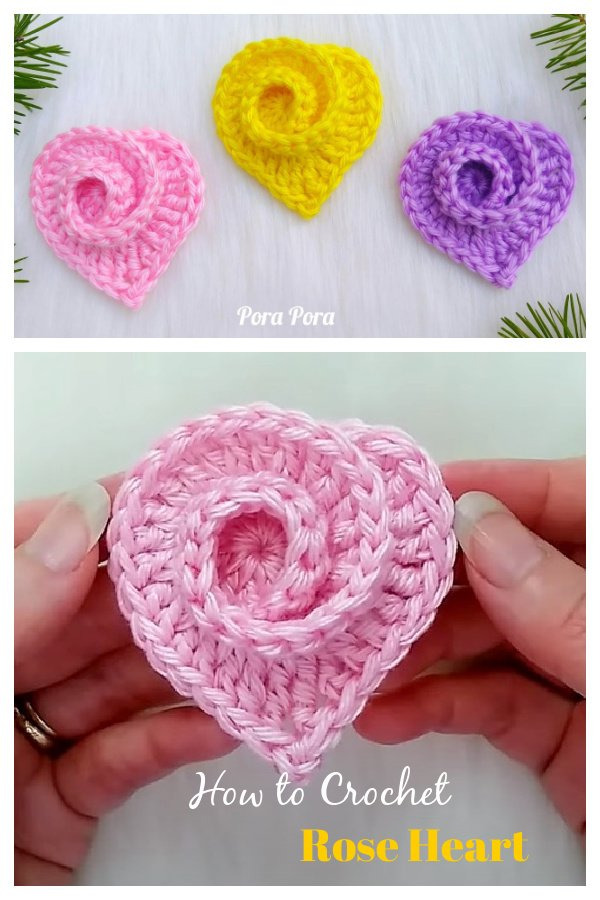 How to Crochet Rose Heart Video Tutorial
