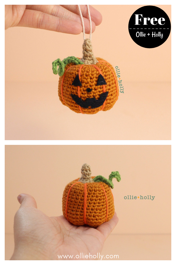 Jack-o'-Lantern Pumpkin Ornament Free Crochet Pattern