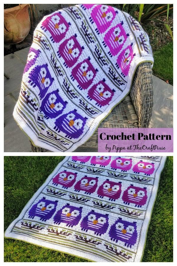 Perching Owls Mosaic Blanket Crochet Pattern