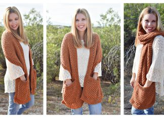 Persimmon Pocket Shawl Free Crochet Pattern