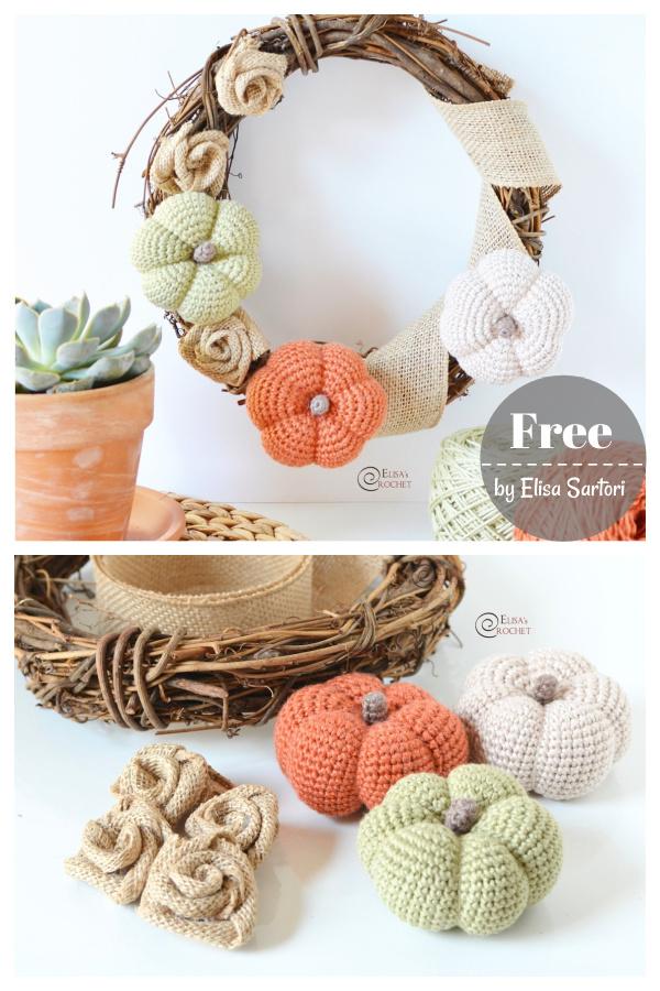Pumpkin Fall Wreath Free Crochet Pattern