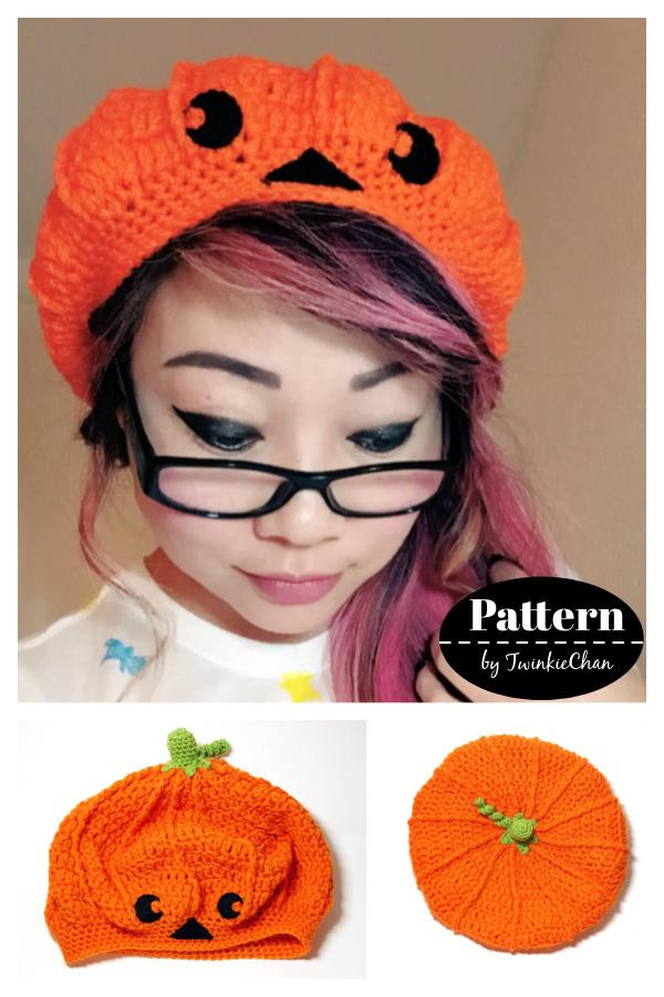 Pumpkin Jack-o-lantern Slouchy Beret Hat Crochet Pattern