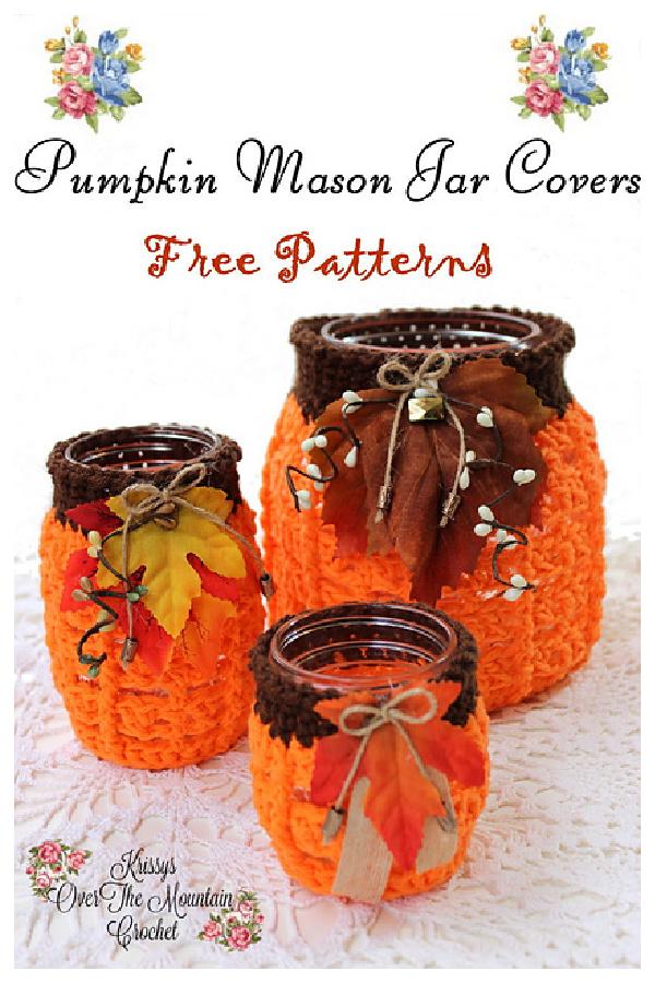 Pumpkin Mason Jar Covers Free Crochet Pattern