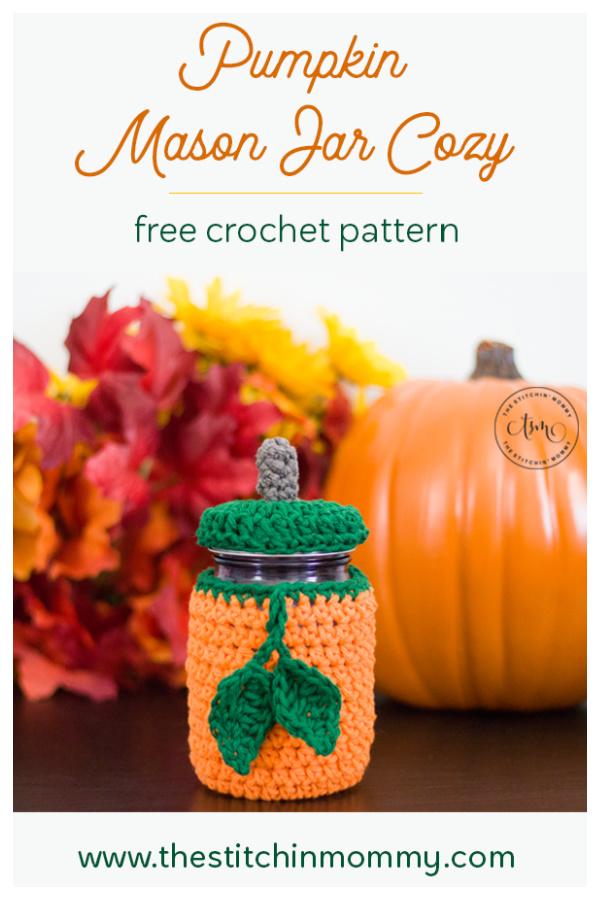 Pumpkin Mason Jar Cozy Free Crochet Pattern