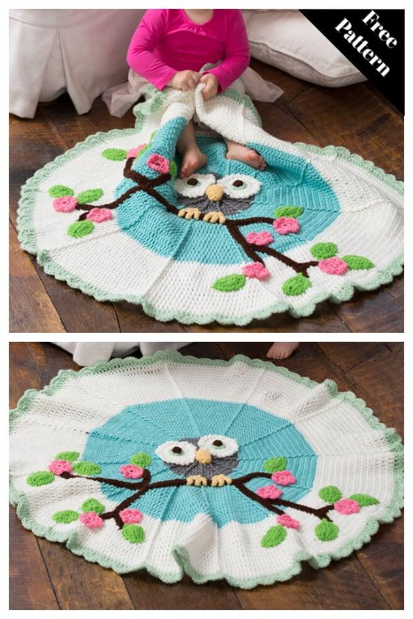 Whoo's My Cutie Blanket Free Crochet Pattern