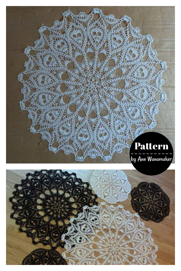 Crown of Skulls Halloween Doily Crochet Pattern