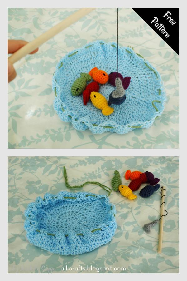 Jogo de pesca infantil padrão de crochê grátis