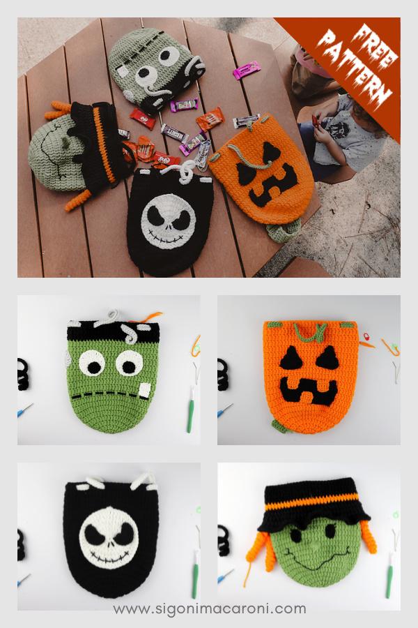 Sacs de bonbons d'Halloween Modèle de crochet gratuit