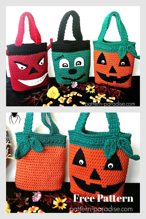 Halloween Trick or Treat Candy Bags Modèle de crochet gratuit
