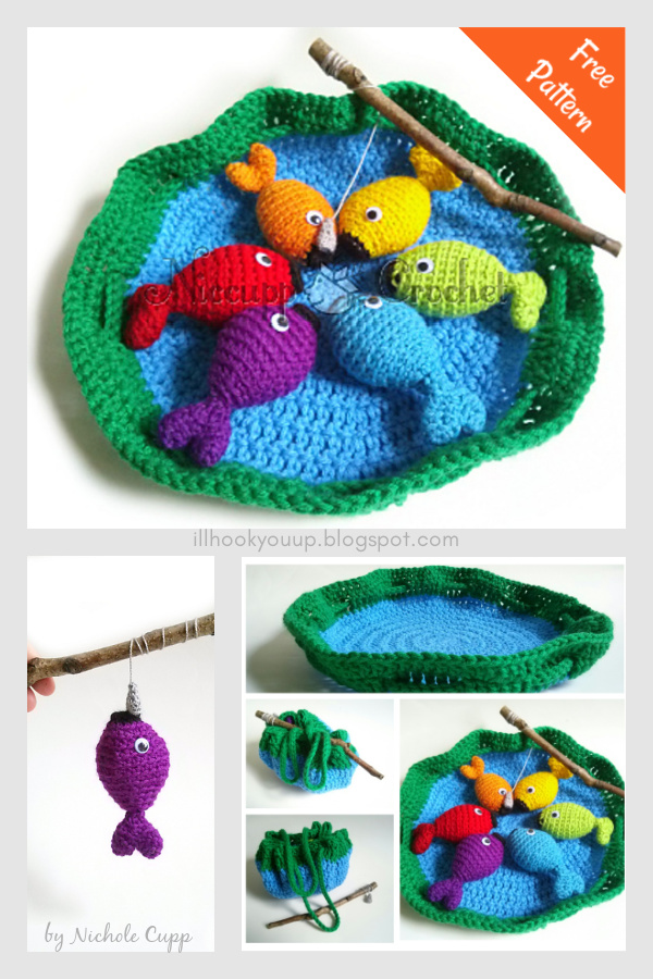 Jogo de pesca do arco-íris grátis padrão de crochê