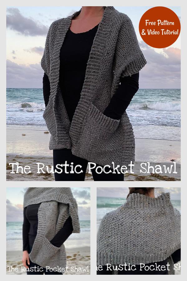 Rustic Pocket Shawl Free Crochet Pattern and Video Tutorial
